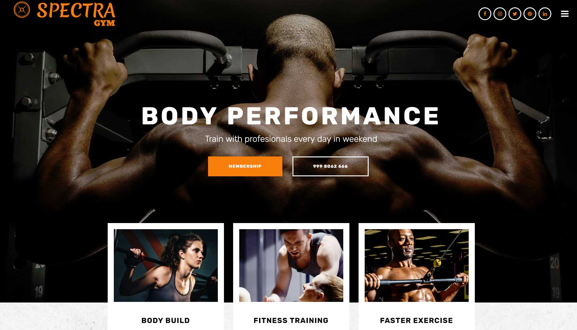 Spectra GYM Website